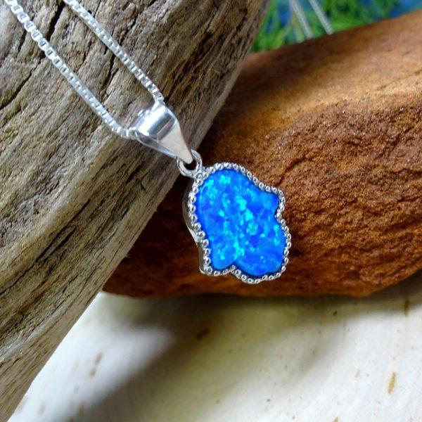 Big Ocean-Blue Opalite Silver Crystal Hamsa .925 Silver Necklace