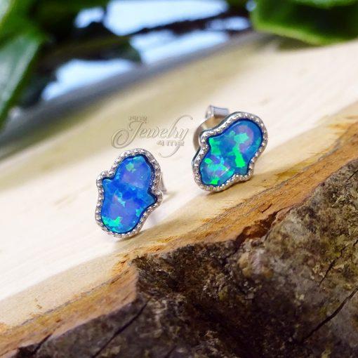 Blue Mother of Pearl .925 Silver Mini Hamsa Earrings