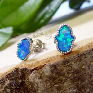 Blue Mother of Pearl .925 Silver Mini Hamsa Earrings