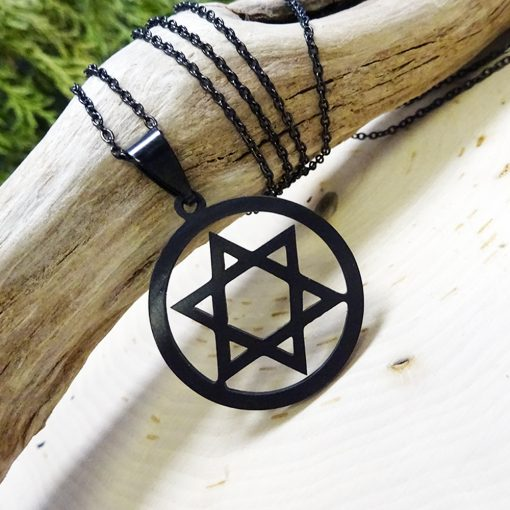 black star of david pendant