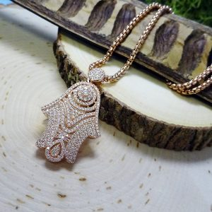 Dazzling rose gold CZ Hamsa Pendant Necklace