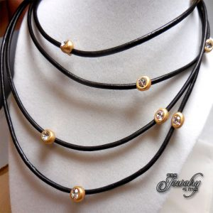 Brown Leather Matte-Gold Crystal Bib Necklace