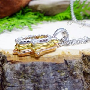 Three tier CZ lined Silver, Gold, and Bronze Hamsa Pendant Necklace
