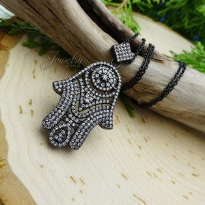 Dazzling Black CZ Hamsa Pendant Necklace