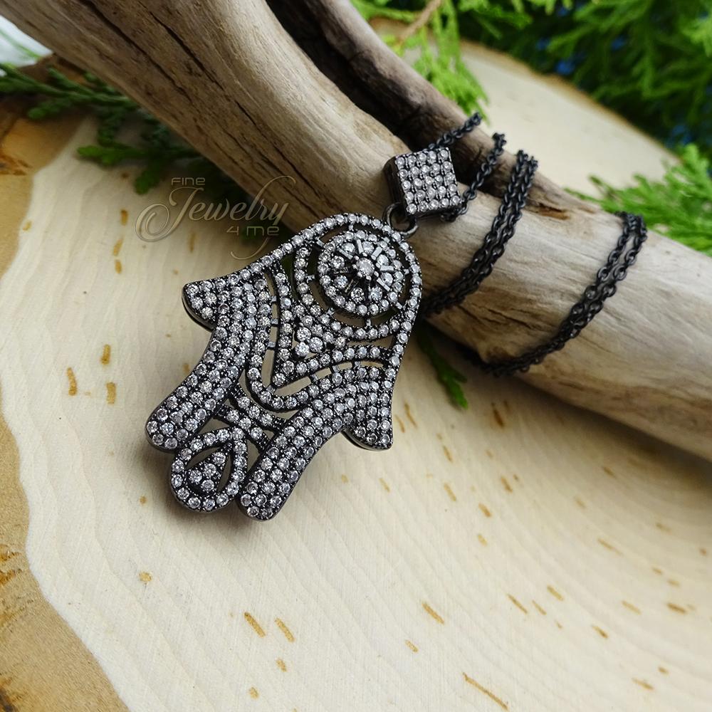 Dazzling Black CZ Hamsa Pendant Necklace