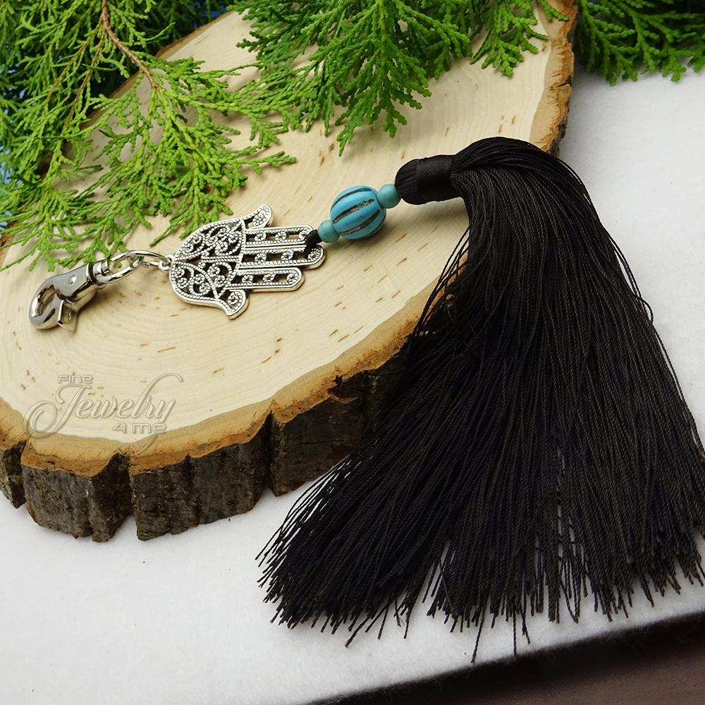 Hamsa Key Chain Tassel with Turquoise Stone