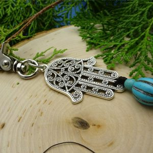 Hamsa Key Chain Tassel with Turquoise Stone