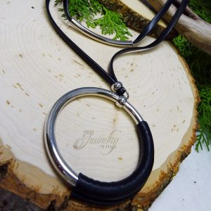 Black leather necklace with ring pendant