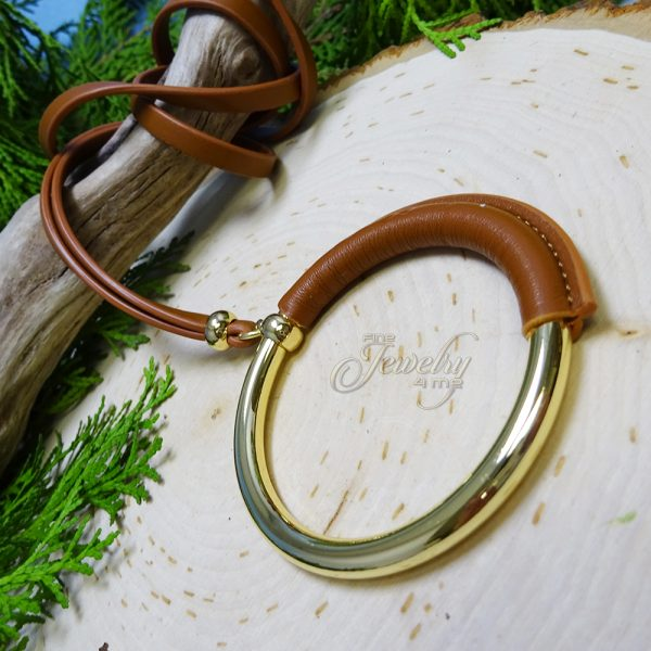 Brown leather necklace with ring pendant