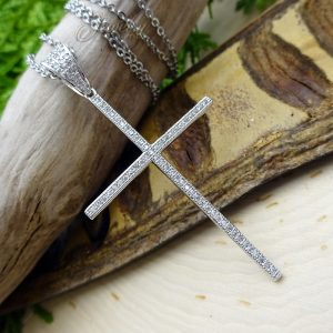 Thin CZ Large Silver Cross Pendant Stainless Steel Necklace