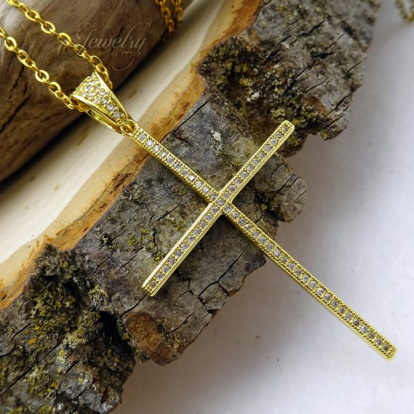 Thin CZ Large Gold Cross Pendant Stainless Steel Necklace