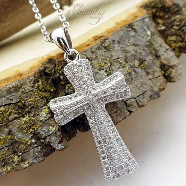 CZ Lined Clover Style Stainless Steel Cross Necklace