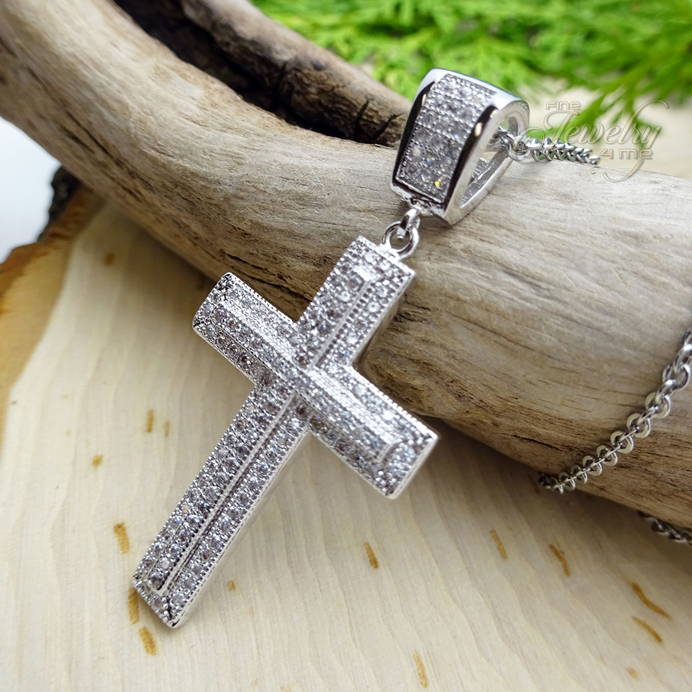 CZ Lined Raised Center Style Stainless Steel Cross Necklace 1479eb601737