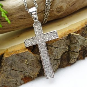 CZ Lined Embedded Center Style Stainless Steel Cross Necklace