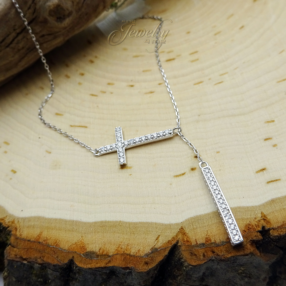 Silver Sideways CZ Cross with Adjustable Y Shape Lariat Hanging Bar Necklace