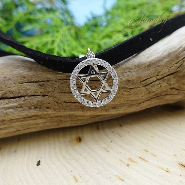 Leather Choker with Circle CZ Silver Star of David Pendant