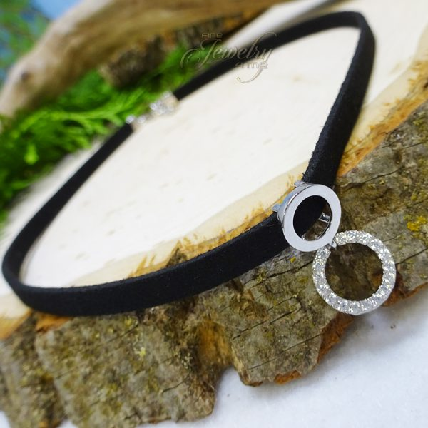 Leather Choker with Silver Circle and CZ Lined Circle Pendant