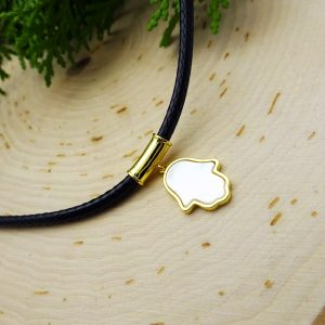 Leather Choker with Gold Mother of Pearl Hamsa Pendant