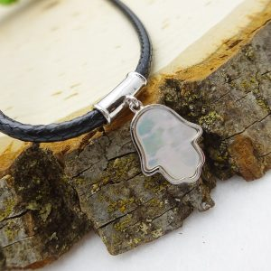 Leather Choker with Silver Mother of Pearl Hamsa Pendant