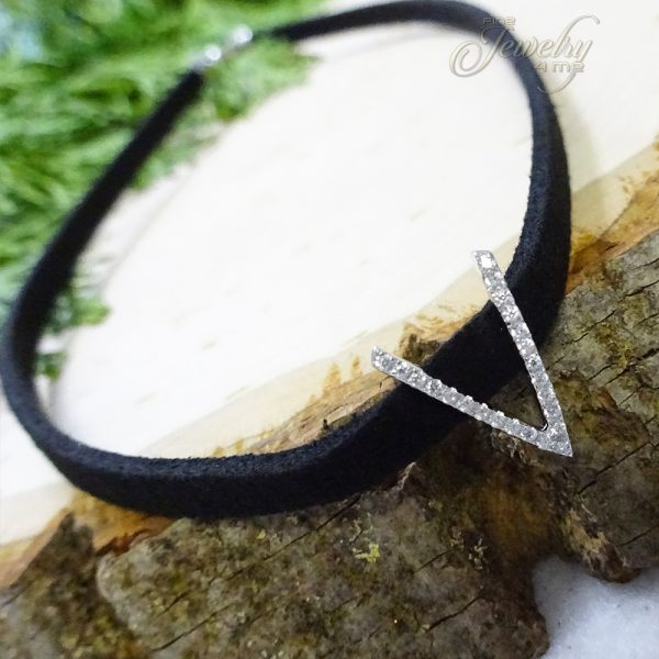Leather Choker with Silver V Shape CZ Pendant