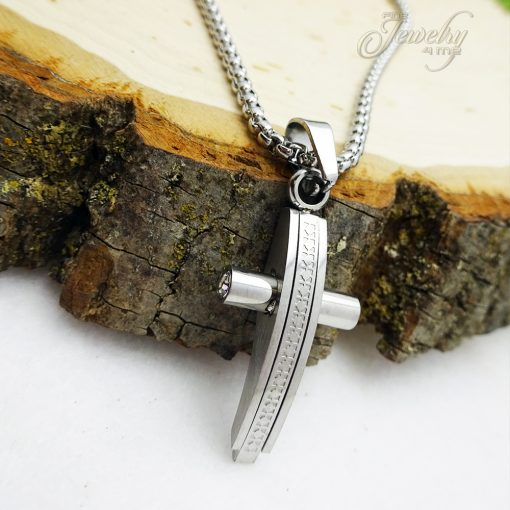 Silver Men's Stainless Steel Texture Print Cross with CZ Pendant Necklace