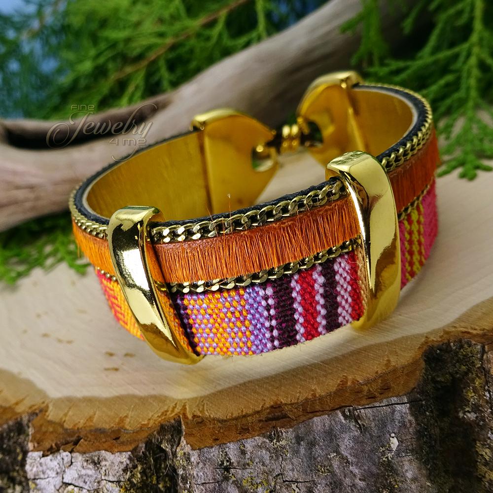 Two Layer Orange Handmade Leather and Boho Cotton Bracelet