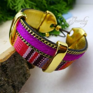 Two Layer Fuschia Handmade Leather and Boho Cotton Bracelet