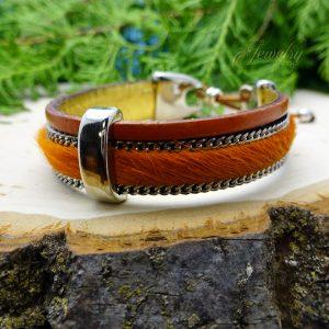 Orange Handmade Leather and Boho Cotton Bracelet