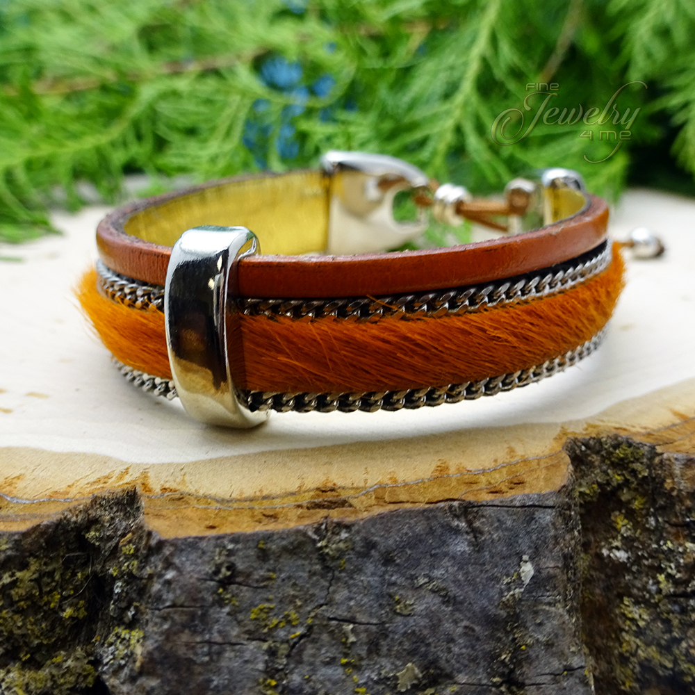 Orange Handmade Leather and Boho Cotton Bracelet