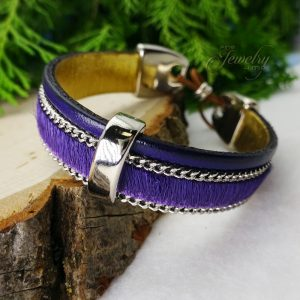 Purple Handmade Leather and Boho Cotton Bracelet