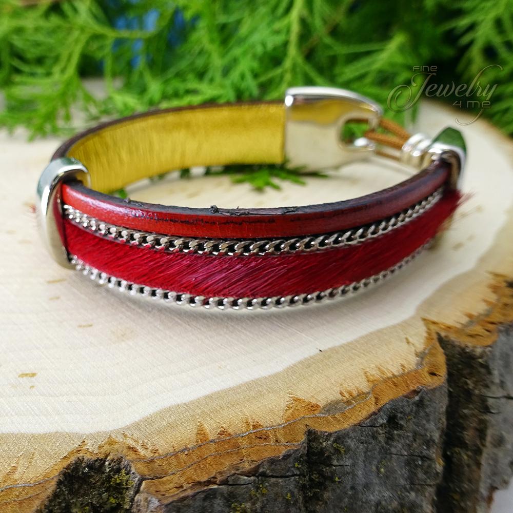 Red Handmade Leather and Boho Cotton Bracelet