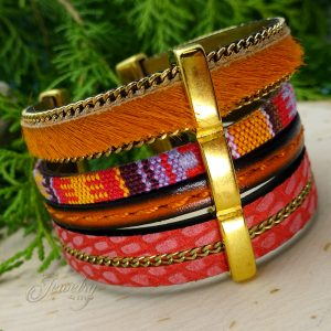 Three Layer Multi Colored Handmade Leather and Boho Cotton Bracelet