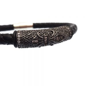 Braided Leather Steel CZ Bracelet