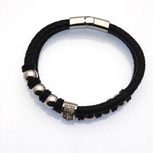 Multi-Strand Genuine Leather w/ Chrome Beads and Anchor